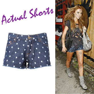 View Item Heart Print Denim Shorts